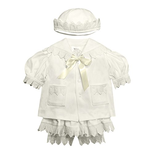 Victorian Organics Baby Girl Sailor Set 4 Piece Organic Cotton Knit and Eyelet Lace Trim Jacket Hat Dress and Bloomers (NB 0-3 months) by Victorian Organics