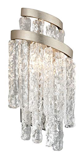 Mont Blanc 2-Light Wall Sconce - Modern Silver Leaf Finish - Hand-Crafted Clear Venetian Glass Shade