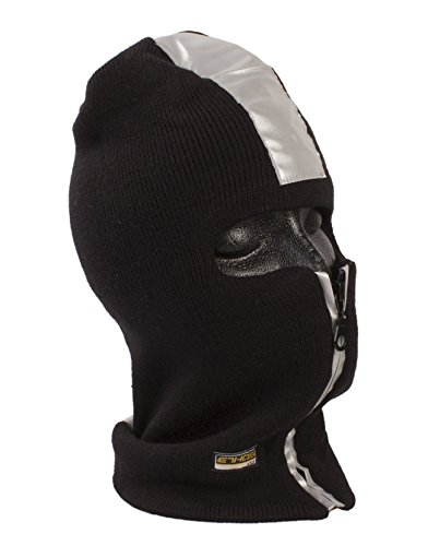 Safety Reflector One Hole Full Face Mask with Front Zipper, Available in 3 Colors (Black)