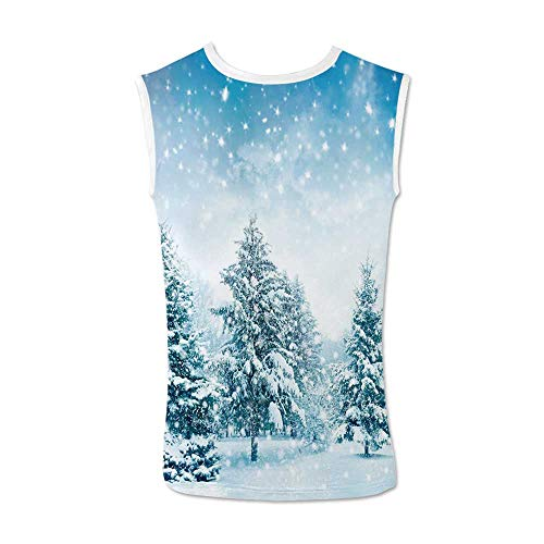 - Winter Comfortable Tank Top,Snow Covered Fir Trees on Mountainside Blizzard Arctic Woodland Tranquil Outdooors Decorative for Men,L