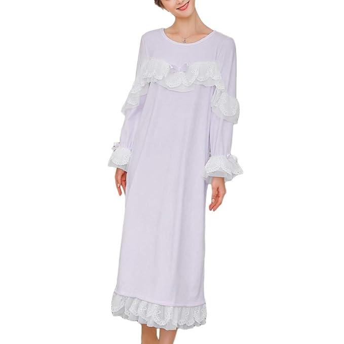 Damas Cálido Suave Camisón Pijamas Batas De Longitud Completa Falda Ropa De Dormir Niñas Princesa Dulce Batas De Encaje, Purple-L: Amazon.es: Ropa y ...