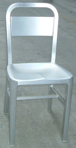 Brushed Aluminum Stackable Side Chairs - Set of 2