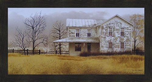 Primitive Country Framed Picture (The Olde Homeplace by Billy Jacobs 22x40 Farm Farmhouse Primitive Folk Art Country Print Wall Décor Framed Picture)