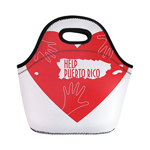 Semtomn Neoprene Lunch Tote Bag Helping Hands Heart Puerto Rico Map Silhouette Support Reusable Cooler Bags Insulated Thermal Picnic Handbag for Travel,School,Outdoors,Work