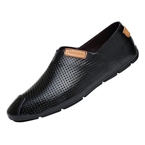 Zon Lorence Heren Zomer Ademende Hollen Leren Mocassins Casual Instappers Platte Loafer Schoenen Zwart