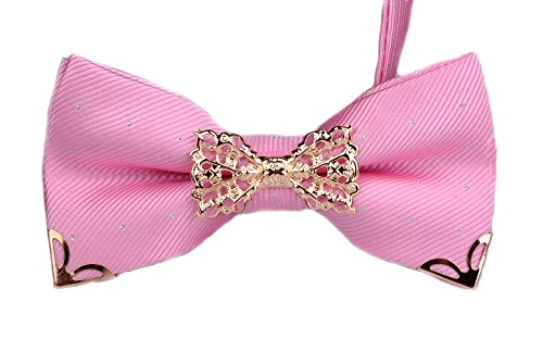 Ysiop Men Silk Solid Bow Tie Pre-tie Bowtie Hollow Sequin Cravat with Gift Box Pink