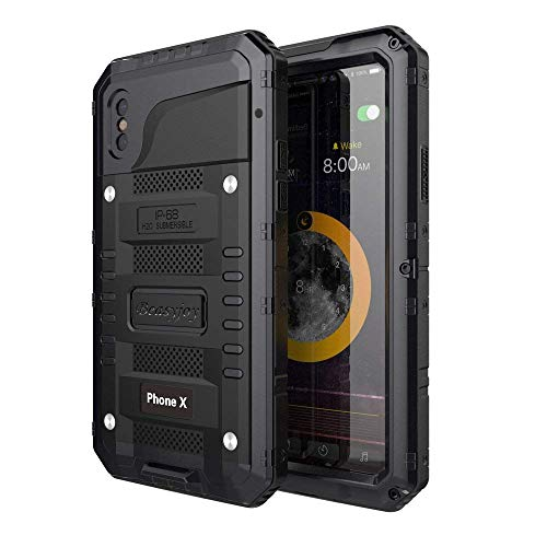 Waterproof Case Compatible with iPhone Xs & iPhone X, Beasyjoy Heavy Duty Hard Tough Metal Cover Built-in Screen Full Body Protection Shockproof Drop Proof Rugged Durable Military Grade Defender,Black
