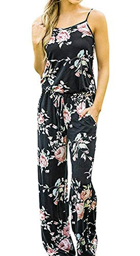 Artfish Women Sexy Sleeveless Spaghetti Strap Floral Printed Summer Jumpers Jumpsuit Rompers (XL, Black)