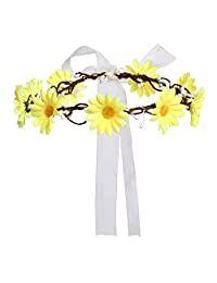 Merroyal Daisy Flower Headband Crown with Adjustable Ribbon for Wedding Festivals
