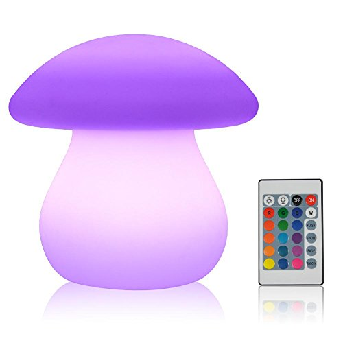 Flashing Floating - VGEBY LED Mood Lamp, RGB Night Light,LED Decorative Light,Floating Pool Light with Remote Control, Waterproof Rechargeable Indoor Outdoor Light(Mushroom Shape)
