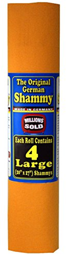 The Original German Shammy Super Absorbent Towel Chamois 20x27 inch, Orange