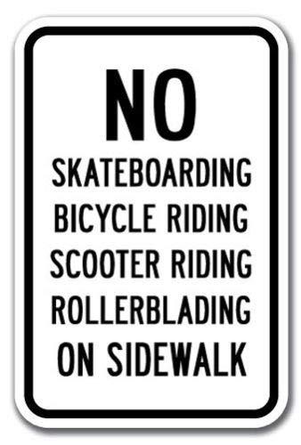 Bruyu5se Metal Sign, Tin Sign, No Skateboards Bikes Scooter Rollerblades On Sidewalk Sign 12