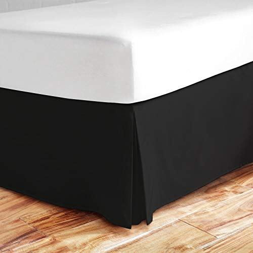 Valencia Beddings Split Corner Bed Skirt 18 Inch Drop Full Size 100% Natural Cotton Wrinkle and Fade Resistant Full Size, Black Solid ()
