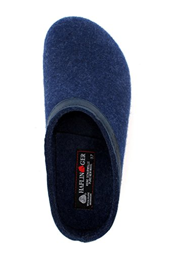 Haflinger Unisex In Pelle Gzl Con Finiture Grogly Zoccoli In Denim