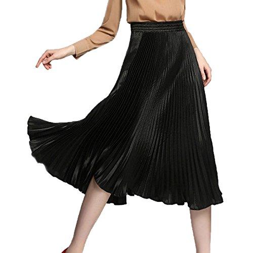 Mujeres De Cintura Elástica Corta Plisada Una Falda De Línea Black