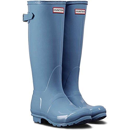 Hunter Women's Original Back Adjustable Gloss Rain Boots Forget Me Not 7 M US by Hunter