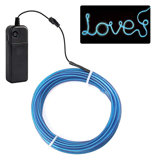 (jiguoor EL Wire with Battery Pack 16.4ft/ 5M Super Bright Light Neon Tube Neon Glowing strobing of 360 Degrees of Illumination for Party Decoration (Blue,16.4ft/ 5M))