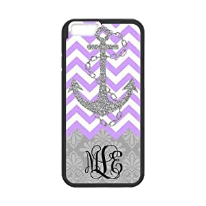 Purple White Chevron Zigzags Gray Anchor & Gray Vintage European Pattern Damask Print Style & Black Initials Or Name Personalized Custom Best Hard Plastic Case for iPhone6 ( Only for 4.7 inches) by mcsharks