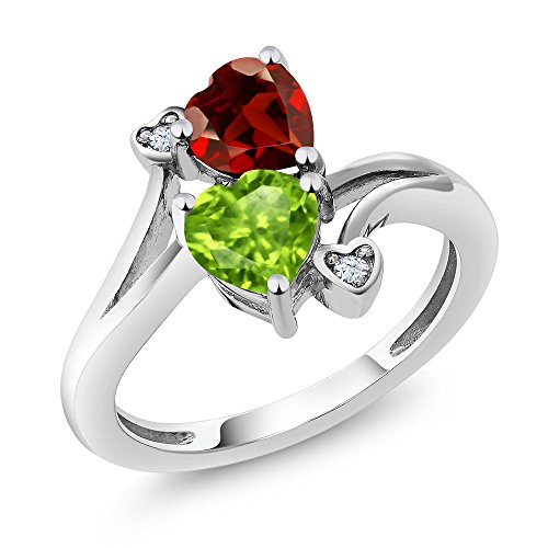 1.76 Ct Heart Shape Green Peridot Red Garnet 925 Sterling Silver Ring (Size 7) -