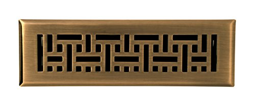 Grates Antique (Accord AMFRABB210 Floor Register with Wicker Design, 2-Inch x 10-Inch(Duct Opening Measurements), Antique Brass)