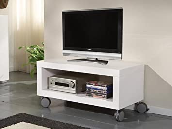 Mobile TV nero bianco lucido su ruote larghezza 80 cm: Amazon.it ...
