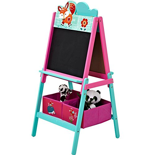 ISUMER Kids Wooden Standing Easel with Storage Bins Deluxe Double Sided Children Easel Chalkboard/Magnetic Dry Erase Board Free 26 alphabet magnets