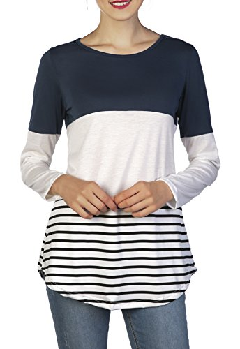 Chvity Women's Back Lace Color Block Tops Long Sleeve T-Shirts Blouses (M, Blue)
