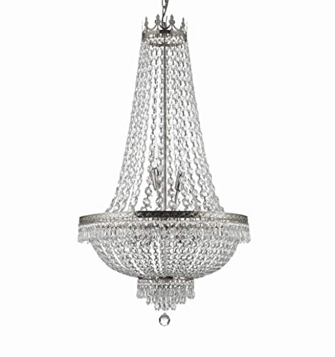 French Empire Crystal Silver Chandelier Lighting - Great for The Dining Room, Foyer, Entry Way, Living Room - H50 X W24