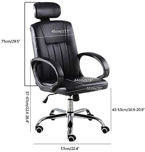 DBL Dator stol hög rygg verkställande stol med svängfunktion ergonomisk kontorsstol höjd justerbar läder skrivbord spelstol för kontor mötesrum skrivbordsstolar (storlek: svart)