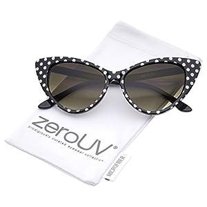 zeroUV - Polka Dot Cat Eye Womens Mod Fashion Super Cat Sunglasses (Black White-Dots)