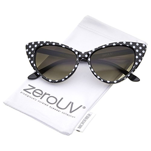 zeroUV - Polka Dot Cat Eye Womens Mod Fashion Super Cat Sunglasses (Black White-Dots)