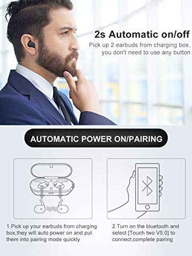 Wireless Earbuds,Upgraded Bluetooth 5 0 Bluetooth Earphones True Wireless  Earbuds Stereo Hi-Fi Sound Wireless Headphones with Mic Charging Case Noise
