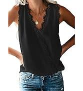 ROSKIKI Womens Sexy Wrap V Neck Lace Trim Tunic Blouse Tops Plain Chiffon Shirts S-XXL