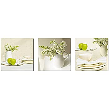 Wieco Art - Elegant Life 3 Panels Modern Stretched and Framed Flowers Artwork Giclee Canvas Prints Contemporary Floral Pictures Photo Paintings on Canvas Wall Art for Bedroom Home Decorations