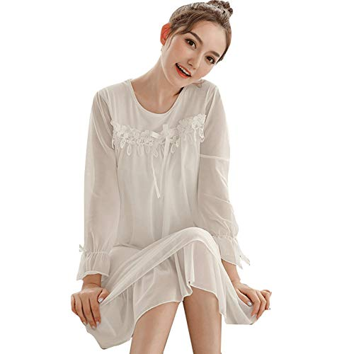 YJFPLSY Cotton Vintage Long Sleeve Nightgown Spring Women Princess Nightdress Female Lace Elegant Sleepshirts Loose