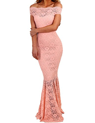 Moulante Soire Bardot Maxi De Hors Sirne Mariage Longue De Dentelle Lrud Pink Robe Femmes wxRYgB