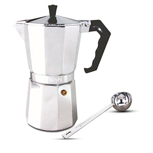 Espresso Maker, HOOHI 240 ML Aluminum Moka Express Stovetop Espresso Maker Pot Coffee Machine + 1 Coffee Scoop, 4 Cup (Silver) (Coffee Maker With Grainder compare prices)