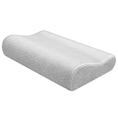 Contour Pillow Neck Pillow Bed Pillows for Sleeping Chiropractor Orthopedic Memory Foam Pillow Cervical Pillow for Shoulder Neck Pain Relief Back Support for Side Sleeper Pillow Bamboo Pillow (Grey)