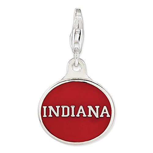 Jewelry Stores Network Sterling Silver Enamel Indiana University Lobster Clasp Charm 18x16mm