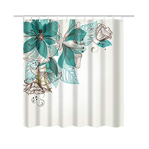 Turquoise Fabric Shower Curtain for Women Ladies Girls Waterproof Mildew Resistant Flower Shower Curtain 71x71 inches White Floral Shower Curtain