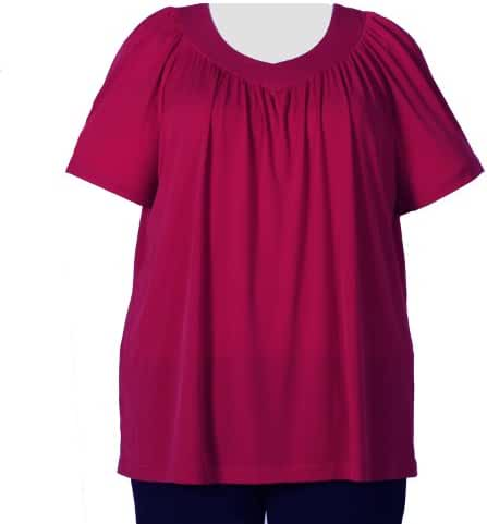 Red V-Neck Pullover Top Plus Size Woman's Pullover Top