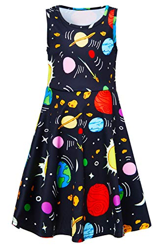 3 4 5 6 Years Old Little Girls Planets Dress Baby Kids Casual Floral 3D Print Easter Cute Black Space Alien Graphic Red Candy Princess Fancy Swing A-line Sundress for Birthday Dance Party Midi Dresses]()