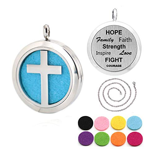 Stainless Steel Cross Design Aroma Aromatherapy Essential Oil Diffuser Necklace