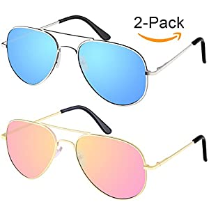 [Buy 1 Get 1]Elimoons Sunglasses for Men Women Aviator Polarized Metal Mirrored, UV400 Lens Protection, Silver/Blue + Gold/Pink