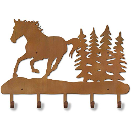 Cold Nose Creations 24in Western Theme Running Horse Scene Decorative Metal Wall Mount 5-Hooks Hat and Coat Rack