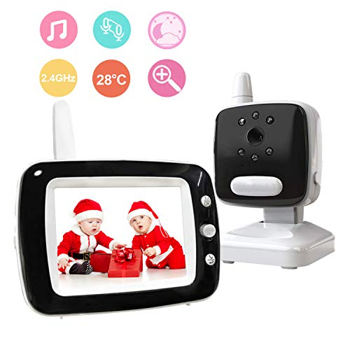 Video Baby Monitor with Camera and Audio, 3.5 LCD and Infrared Night Vision, Two Way Talk Back, Temperature Detection, Lullabies, ECO Mode, 960ft Range Power Saving Baby Video Monitor