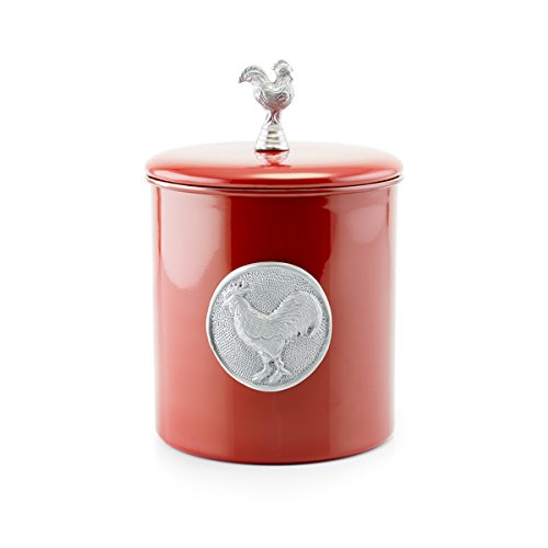 - Old Dutch Red Rooster Silver Stainless Steel 4-quart Fresh Seal Cover Cookie Jar with Medallion and Knob