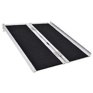 amazon com goplus multi fold aluminum 3 non skid wheelchair ramp