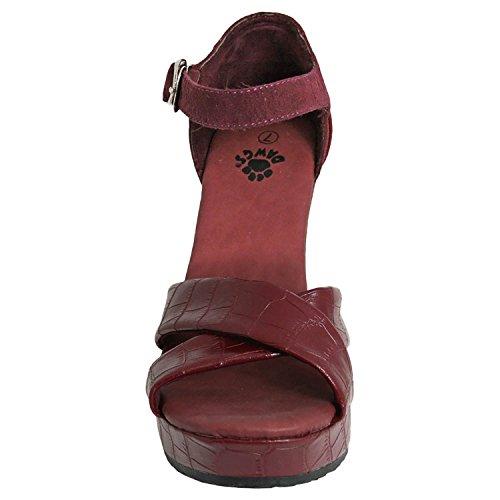 Dawgs Dames Kaymann 4 Inch Sandaal Sleehaken Bordeaux Croc Maat 6