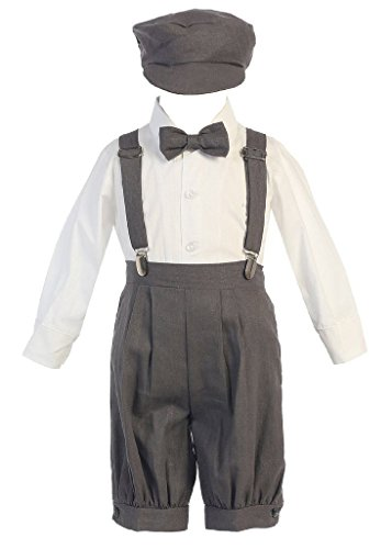iGirldress Little Boys' Suspender Knickers with Hat 4T Charcoal ()